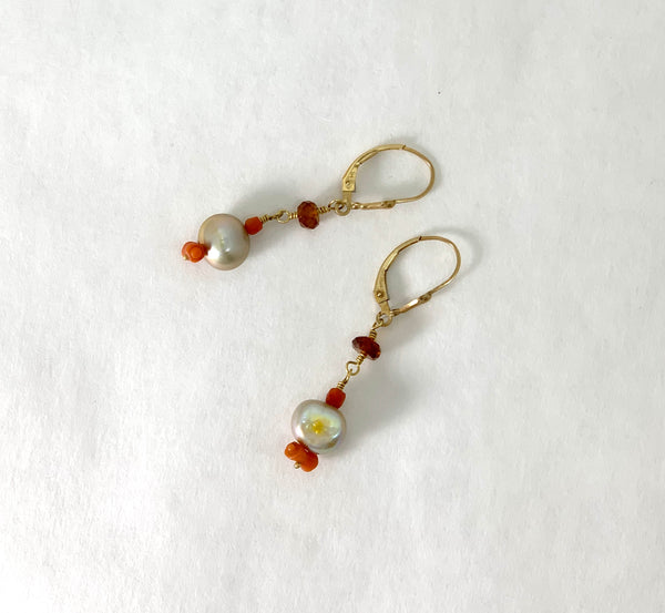 GOLDEN PEARL AND CORAL AND GARNET EARRINGS