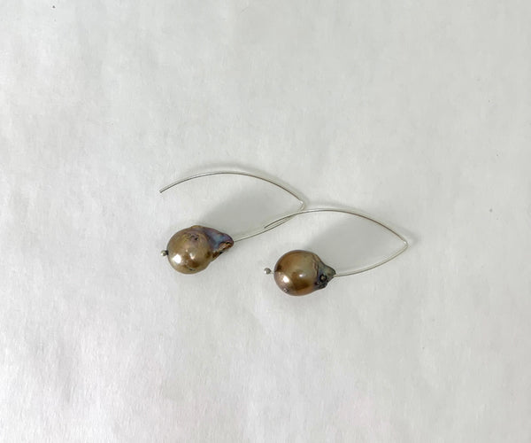 LARGE BRONZE AKOYA PEARL EARRINGS