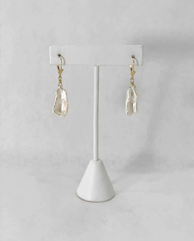FINE WHITE FEATHER PEARL EARRINGS