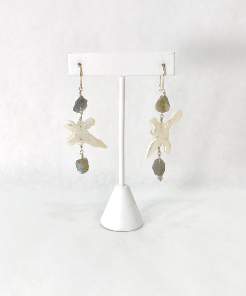 IVORY SPIKE PEARLS WITH LABRADORITE NUGGET EARRINGS