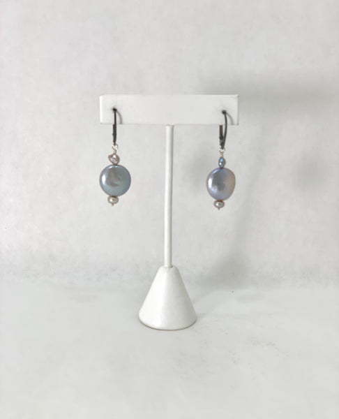 LARGE SILVER GREY COIN PEARL EARRINGS