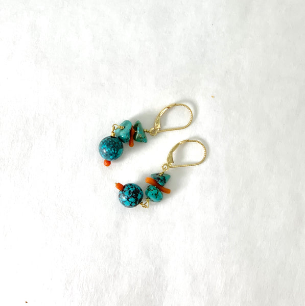 ASIAN TURQUOISE AND CORAL BRANCH EARRINGS