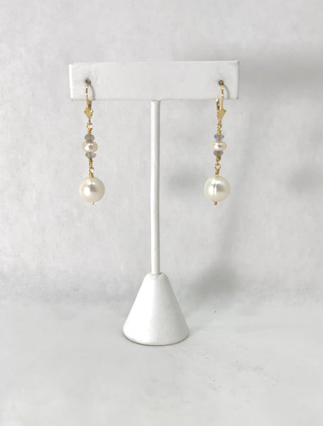 ROUND WHITE FRESHWATER PEARL EARRINGS WITH LABRADORITE RONDELS