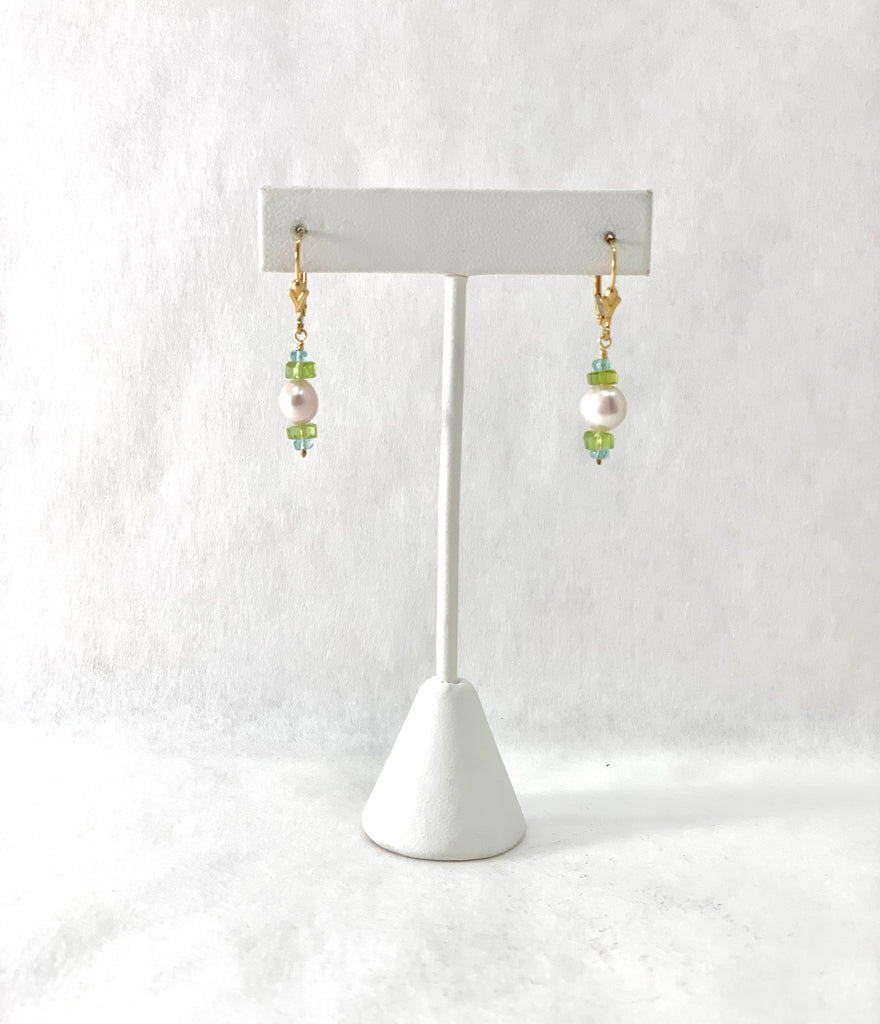 PALE PINK FRESHWATER PEARL, PERIDOT AND APATITE EARRINGS
