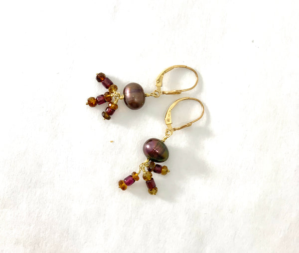 COFFEE BEAN COLOR PEARL, GARNET AND TOURMALINE EARRINGS
