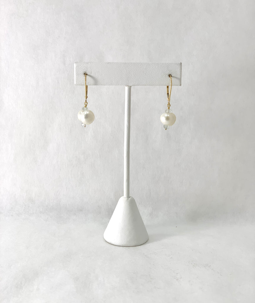 DOUBLE WHITE FRESHWATER PEARL EARRINGS WITH AQUAMARINE BEADS