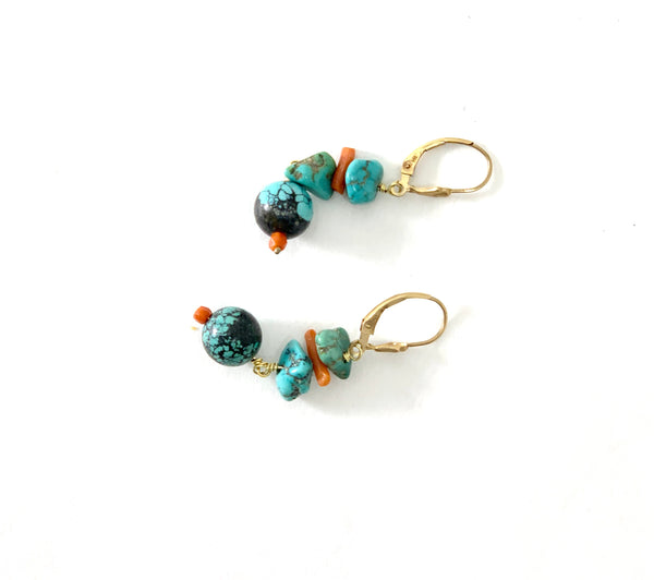 TURQUOISE BEAD AND NUGGET AND CORAL BRANCH EARRINGS