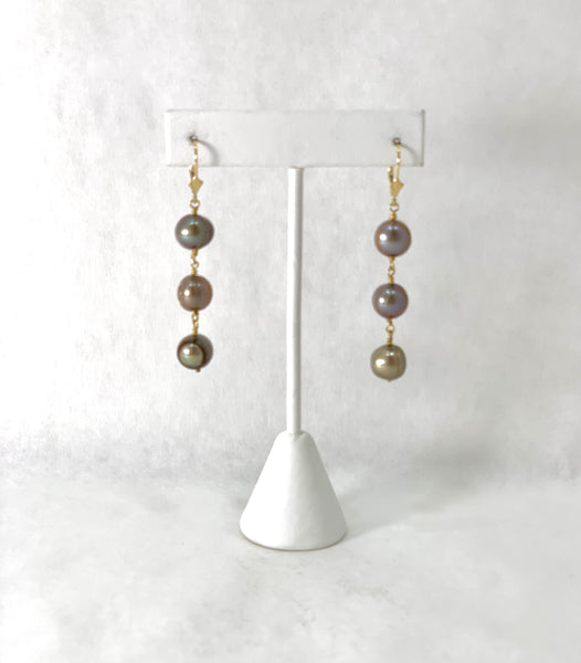 HONEY BROWN OVAL FRESHWATER PEARL EARRINGS