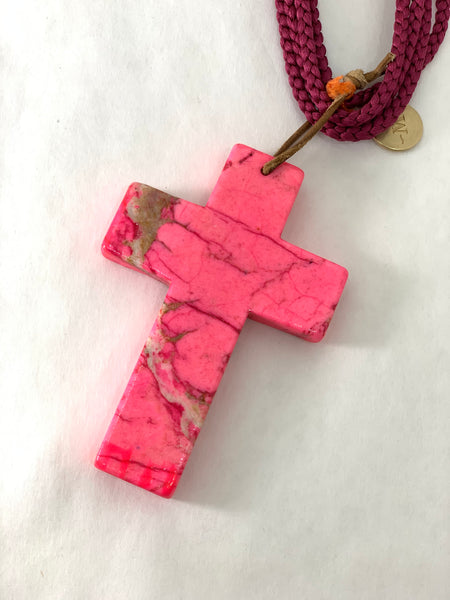 PINK HOWLITE STONE CROSS ON SILK CORD