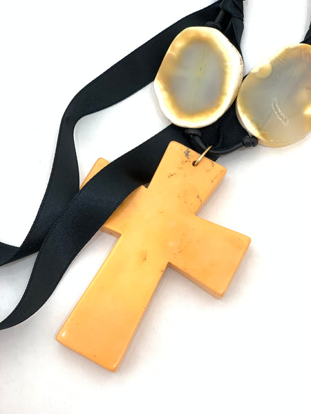 MELON HOWLITE CROSS ON BLACK RIBBON WITH AGATE SLICES