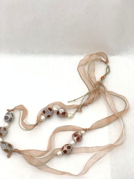 PINK AGATE NUGGET NECKLACE WITH PEARLS ON PINK ORGANZA AND SILK CORD