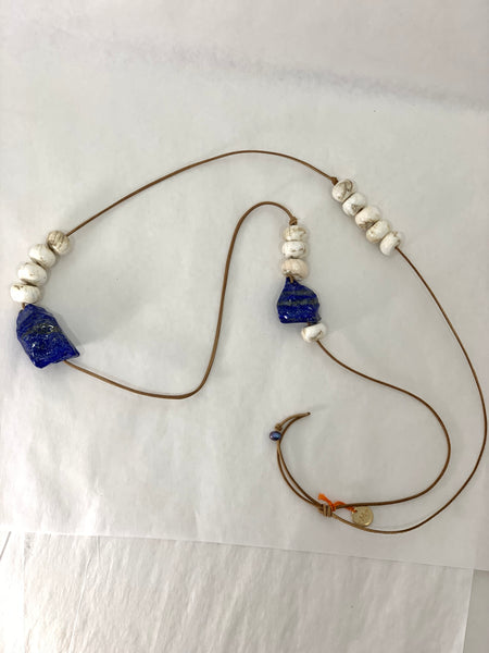 LONG TWO STONE LAPIS NECKLACE