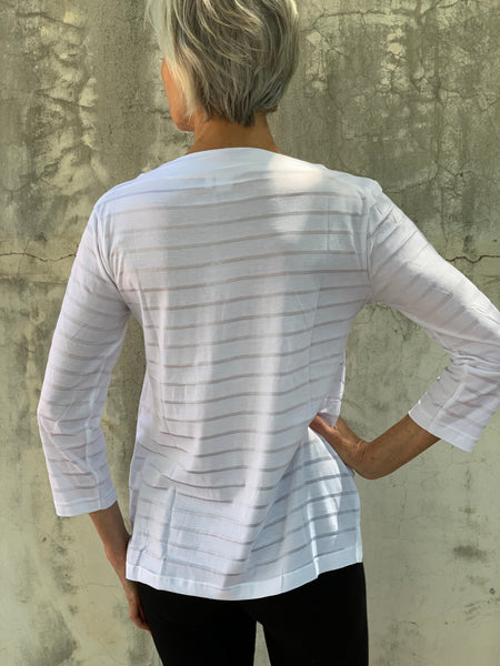 BOATNECK STRIPED TSHIRT IN WHITE