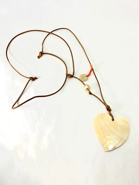GOLDEN MOTHER OF PEARL HEART SHAPED NECKLACE