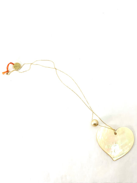 GODLEN MOTHER OF PEARL HEART PENDANT ON 18KT GOLD CHAIN
