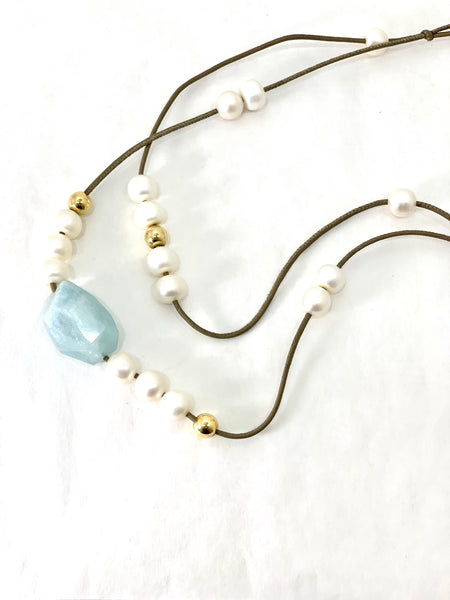 AQUAMARINE AND FRESHWATER PEARL NECKLACE