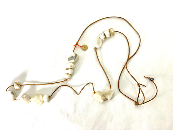 LONG CRYSTALLIZED WHITE AGATE AND TIBETAN SHELL NECKLACE