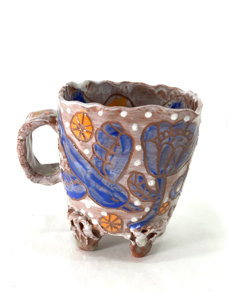 BLUE BIRD AND BLUE FLOWER MUG