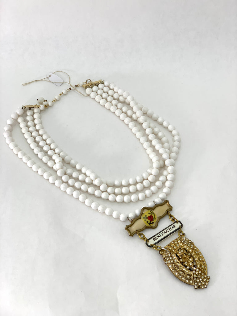 "WHITE RESIN BEAD ""BENEFACTOR"" NECKLACE"