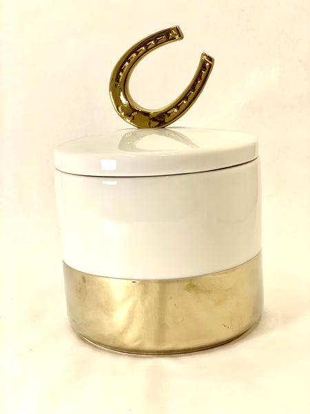 GOOD LUCK HORSESHOE CERAMIC CONTAINER