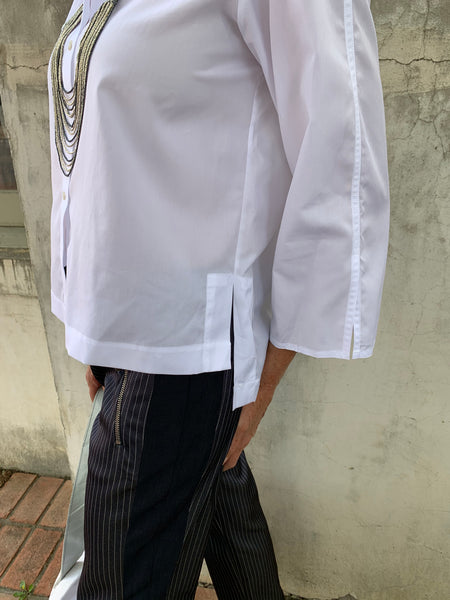 SPLIT SLEEVE BLOUSE IN WHITE