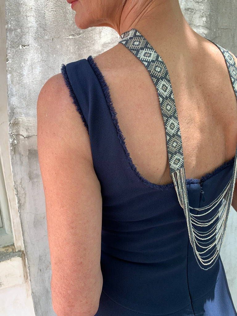 STEEL BLUE AND SILVER WOVEN CASCADING NECKLACE