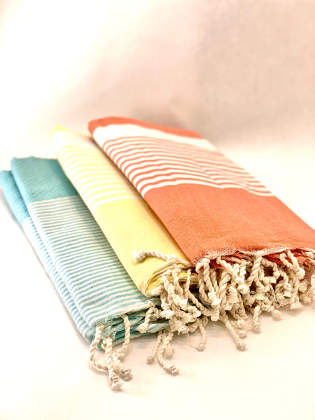PALE TURQUOISE TOWEL WITH MINI STRIPES