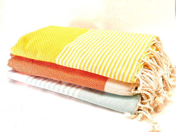 ORANGE DIAMOND WEAVE TOWEL WITH IVORY FRINGE