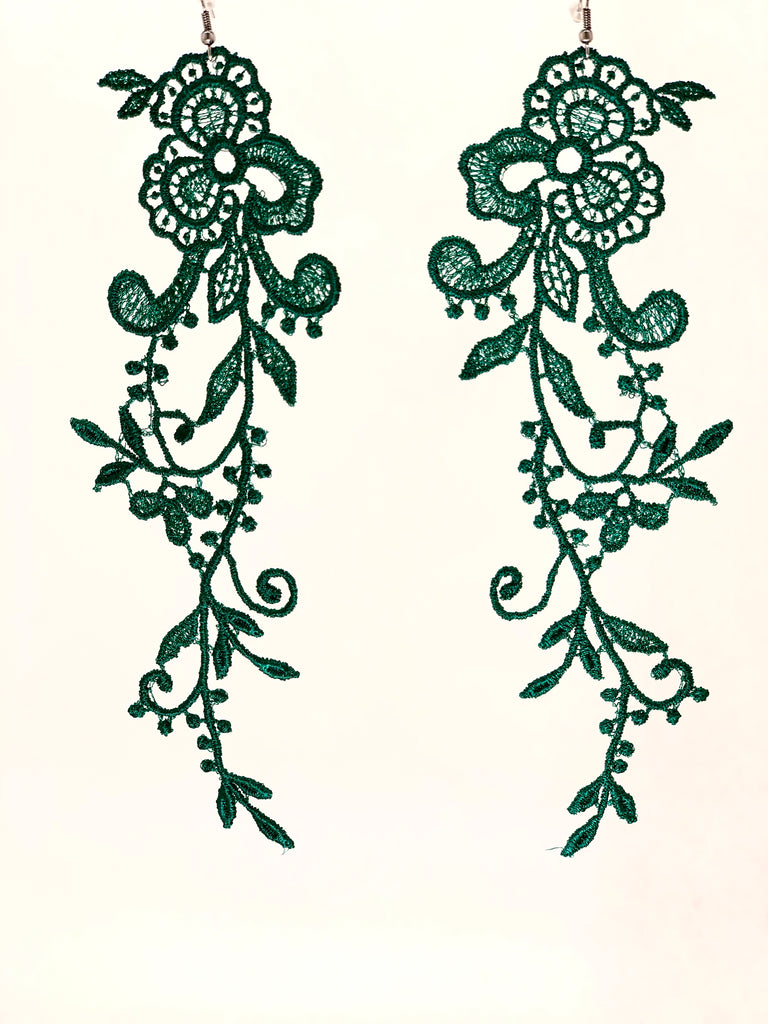 FOREST GREEN EXTRA LONG EARRINGS