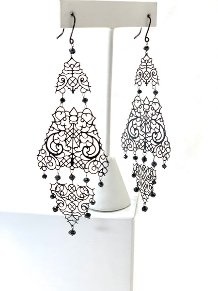 BLACK GOLD LACE AND DIAMOND EARRINGS