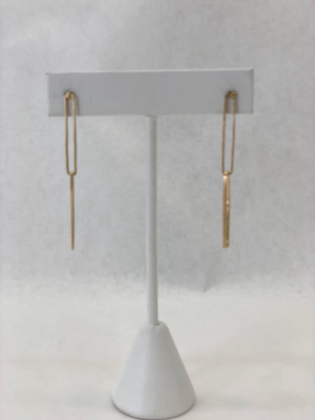INTERTWINED RECTANGLES YELLOW GOLD EARRINGS