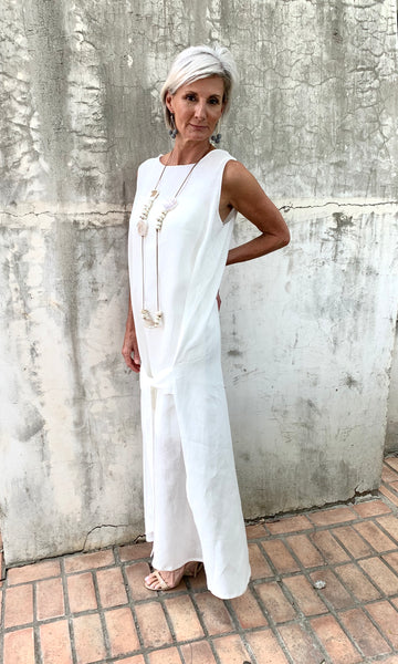 WHITE LINEN LONG DRESS