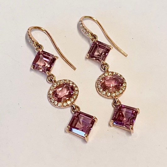 GARENT AND PINK TOURMALINE EARRINGS