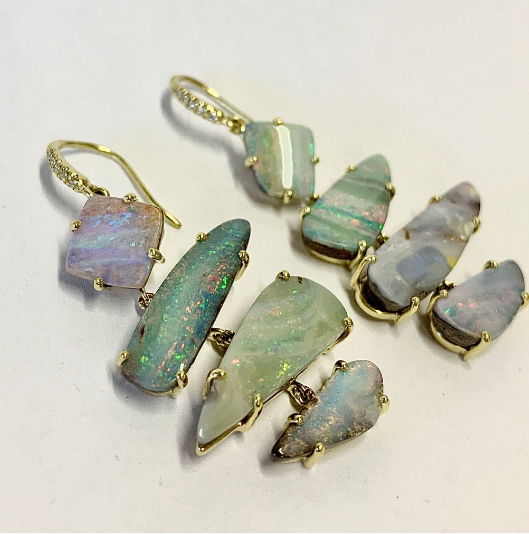 IRREGULAR BOULDER OPAL STONE EARRINGS