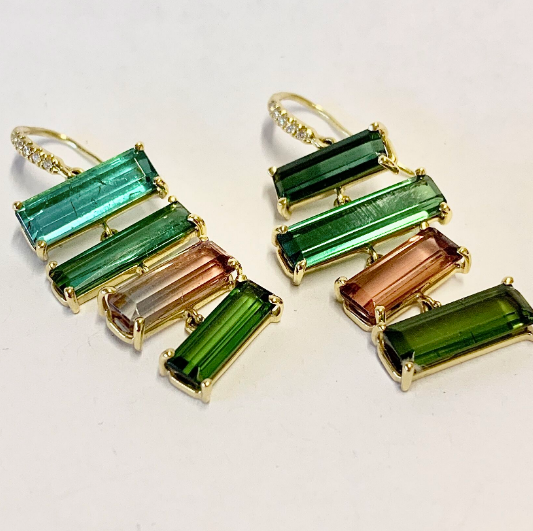 JOYCE EARRINGS WITH MULTI COLORED TOURMALINES