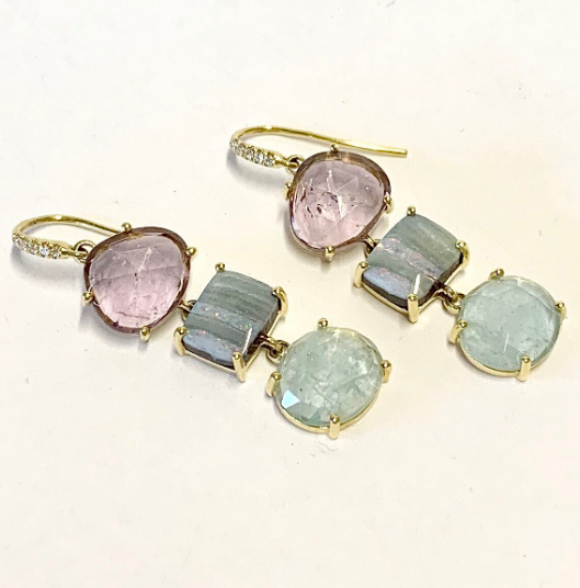 JOYCE EARRING WITH PINK TOURMALINES, BOULDER OPALS AND AQUAMARINES