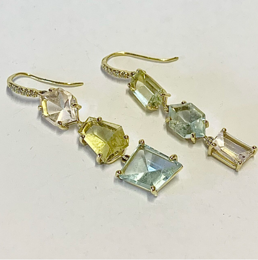 MIRROR CUT MORGANITE, YELLOW BERYL AND AQUAMARINE EARRINGS