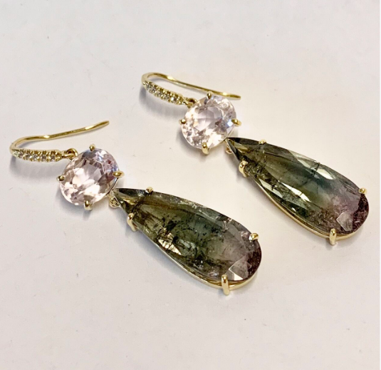 PALE KUNZITE AND TOURMALINE DROP EARRINGS