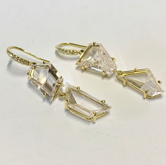 MIRROR CUT FOUR STONE MORGANITE DROP EARRINGS