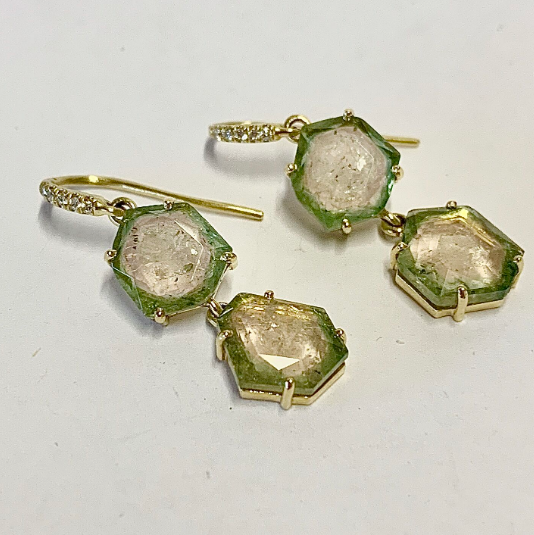 SLICED PASTEL WATERMELON TOURMALINE EARRINGS
