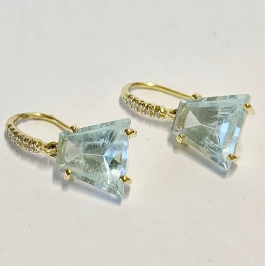 PETITE MIRROR CUT AQUAMARINE EARRINGS
