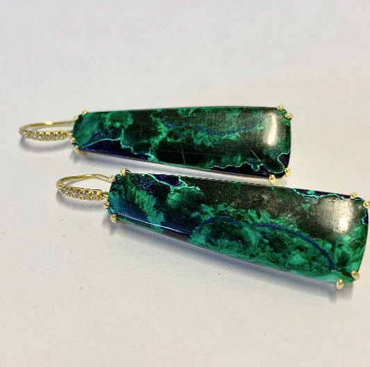AZURITE MALACHITE DROP EARRINGS