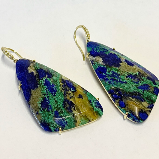 GRECIAN AZURITE MALACHITE EARRINGS