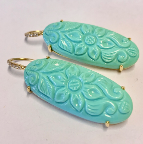 HANDCARVED TURQUOISE EARRINGS