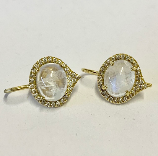 PETITE CABACHON CUT MOONSTONE EARRINGS