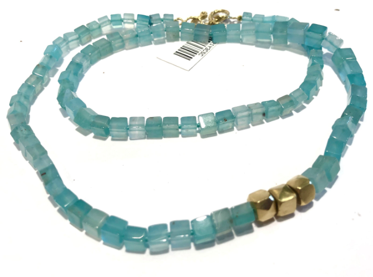 AQUAPRASE AND 18KT YELLOW GOLD BEAD NECKLACE