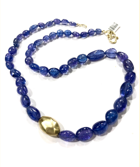 SMOOTH TANZANITE BEAD WITH GOLDEN NUGGET NECKLACE