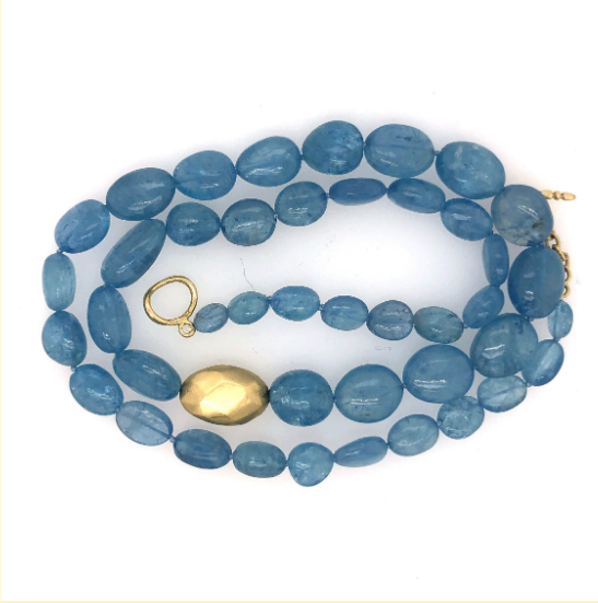 SONO AQUAMARINE SMOOTH NUGGET NECKLACE