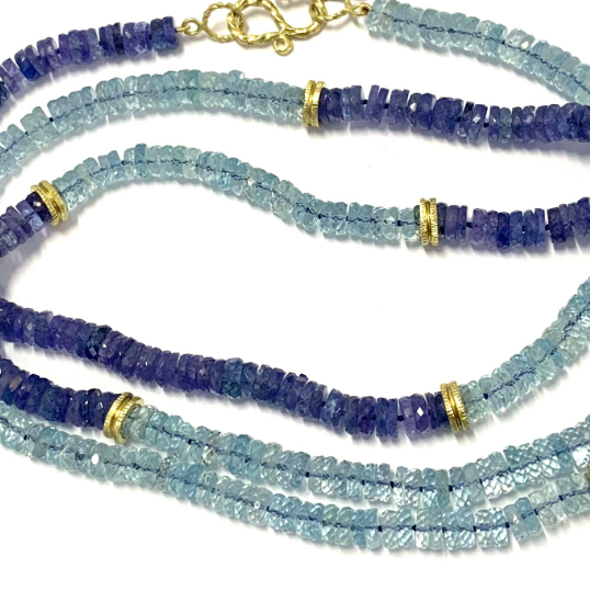 AQUAMARINE AND TANZANITE BEAD NECKLACE
