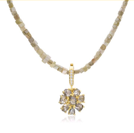 ROSE CUT CHAMPAGNE DIAMOND FLOWER PENDANT ON DIAMOND CHAIN